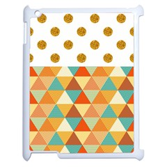 Golden Dots And Triangles Patern Apple Ipad 2 Case (white) by TastefulDesigns