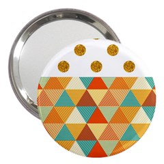 Golden Dots And Triangles Patern 3  Handbag Mirrors by TastefulDesigns