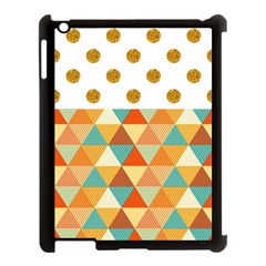 Golden Dots And Triangles Patern Apple Ipad 3/4 Case (black) by TastefulDesigns