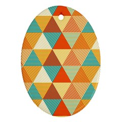 Triangles Pattern  Oval Ornament (two Sides) by TastefulDesigns