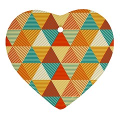 Triangles Pattern  Heart Ornament (two Sides) by TastefulDesigns
