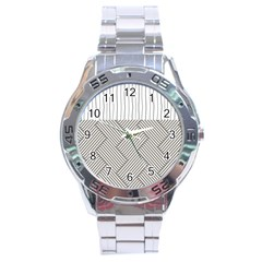 Lines And Stripes Patterns Stainless Steel Analogue Watch by TastefulDesigns