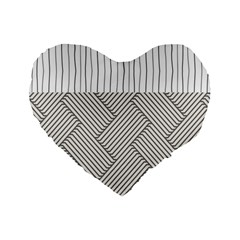 Lines And Stripes Patterns Standard 16  Premium Flano Heart Shape Cushions by TastefulDesigns