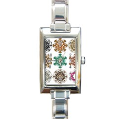 A Set Of 9 Nine Snowflakes On White Rectangle Italian Charm Watch by Amaryn4rt