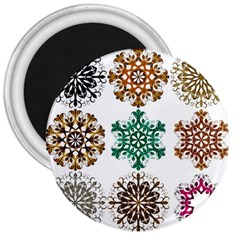 A Set Of 9 Nine Snowflakes On White 3  Magnets