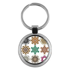 A Set Of 9 Nine Snowflakes On White Key Chains (round)  by Amaryn4rt