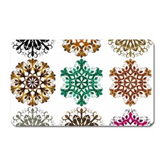A Set Of 9 Nine Snowflakes On White Magnet (rectangular) by Amaryn4rt