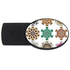 A Set Of 9 Nine Snowflakes On White Usb Flash Drive Oval (2 Gb)
