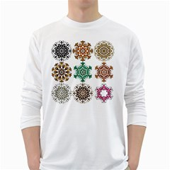 A Set Of 9 Nine Snowflakes On White White Long Sleeve T Shirts by Amaryn4rt