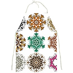 A Set Of 9 Nine Snowflakes On White Full Print Aprons by Amaryn4rt