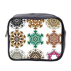 A Set Of 9 Nine Snowflakes On White Mini Toiletries Bag 2 Side by Amaryn4rt