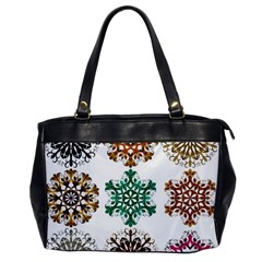 A Set Of 9 Nine Snowflakes On White Office Handbags by Amaryn4rt