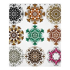 A Set Of 9 Nine Snowflakes On White Shower Curtain 60  X 72  (medium)  by Amaryn4rt