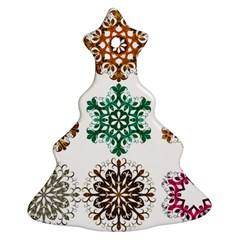 A Set Of 9 Nine Snowflakes On White Christmas Tree Ornament (two Sides) by Amaryn4rt