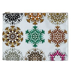 A Set Of 9 Nine Snowflakes On White Cosmetic Bag (xxl)  by Amaryn4rt