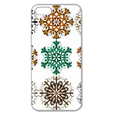 A Set Of 9 Nine Snowflakes On White Apple Seamless Iphone 5 Case (clear) by Amaryn4rt