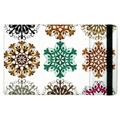 A Set Of 9 Nine Snowflakes On White Apple Ipad 2 Flip Case by Amaryn4rt