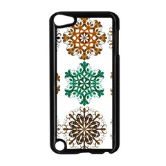 A Set Of 9 Nine Snowflakes On White Apple Ipod Touch 5 Case (black) by Amaryn4rt