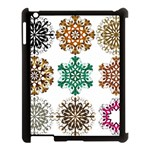 A Set Of 9 Nine Snowflakes On White Apple iPad 3/4 Case (Black) Front