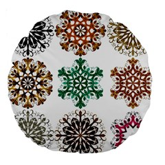 A Set Of 9 Nine Snowflakes On White Large 18  Premium Round Cushions by Amaryn4rt