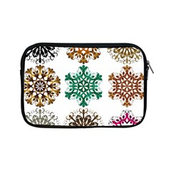 A Set Of 9 Nine Snowflakes On White Apple Ipad Mini Zipper Cases by Amaryn4rt