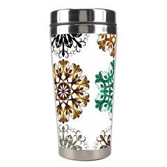A Set Of 9 Nine Snowflakes On White Stainless Steel Travel Tumblers by Amaryn4rt