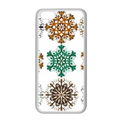 A Set Of 9 Nine Snowflakes On White Apple Iphone 5c Seamless Case (white) by Amaryn4rt
