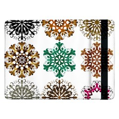 A Set Of 9 Nine Snowflakes On White Samsung Galaxy Tab Pro 12 2  Flip Case by Amaryn4rt