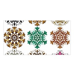 A Set Of 9 Nine Snowflakes On White Satin Shawl by Amaryn4rt