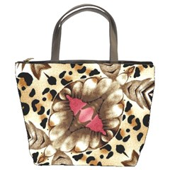Animal Tissue And Flowers Bucket Bags