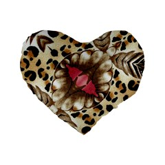 Animal Tissue And Flowers Standard 16  Premium Flano Heart Shape Cushions by Amaryn4rt