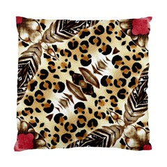 Background Fabric Animal Motifs And Flowers Standard Cushion Case (one Side) by Amaryn4rt