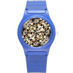 Background Fabric Animal Motifs And Flowers Round Plastic Sport Watch (s) by Amaryn4rt