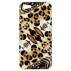 Background Fabric Animal Motifs And Flowers Apple Iphone 5 Hardshell Case by Amaryn4rt