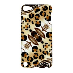 Background Fabric Animal Motifs And Flowers Apple Ipod Touch 5 Hardshell Case by Amaryn4rt