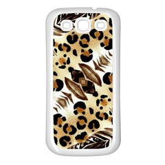 Background Fabric Animal Motifs And Flowers Samsung Galaxy S3 Back Case (white) by Amaryn4rt