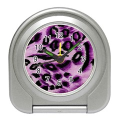 Background Fabric Animal Motifs Lilac Travel Alarm Clocks by Amaryn4rt
