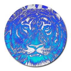 Background Fabric With Tiger Head Pattern Round Mousepads by Amaryn4rt