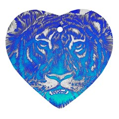 Background Fabric With Tiger Head Pattern Ornament (heart) by Amaryn4rt