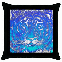 Background Fabric With Tiger Head Pattern Throw Pillow Case (black) by Amaryn4rt