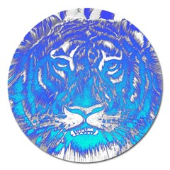 Background Fabric With Tiger Head Pattern Magnet 5  (round) by Amaryn4rt