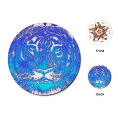 Background Fabric With Tiger Head Pattern Playing Cards (round)  by Amaryn4rt