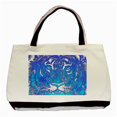 Background Fabric With Tiger Head Pattern Basic Tote Bag (two Sides) by Amaryn4rt