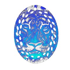Background Fabric With Tiger Head Pattern Oval Filigree Ornament (two Sides) by Amaryn4rt
