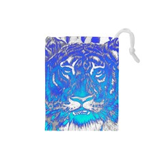 Background Fabric With Tiger Head Pattern Drawstring Pouches (small)  by Amaryn4rt