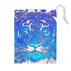 Background Fabric With Tiger Head Pattern Drawstring Pouches (extra Large)