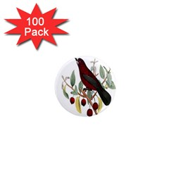 Bird On Branch Illustration 1  Mini Magnets (100 Pack)