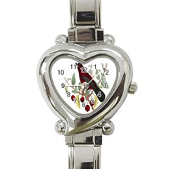 Bird On Branch Illustration Heart Italian Charm Watch by Amaryn4rt