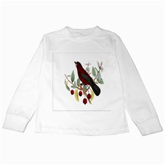 Bird On Branch Illustration Kids Long Sleeve T Shirts by Amaryn4rt