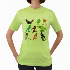 Birds Colorful Floral Funky Women s Green T Shirt by Amaryn4rt